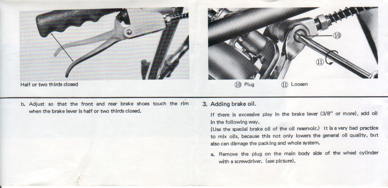 frein hydraulique SHIMANO sur MOTOBECANE années 70 - réglages et fonctionnement . File