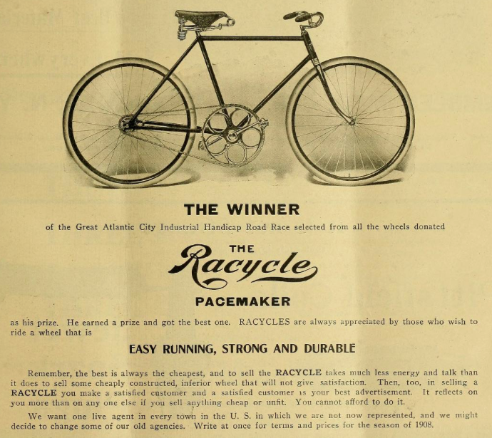 Racycle Pacemaker-source Bicycling World 1907-1908-Smithsonian Libraries.png